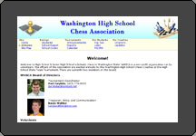 Screen shot of Washington High School Chess web site